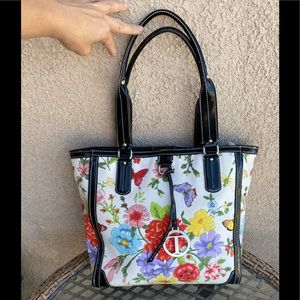 Talbots floral/butterfly canvas bag